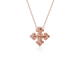 Diamond Cross Necklace with Diamond Accents in 18k Rose Gold