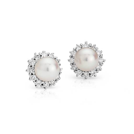 Freshwater Cultured Pearl and Diamond Halo Stud Earrings in 18k White Gold (3/4 ct. tw.)