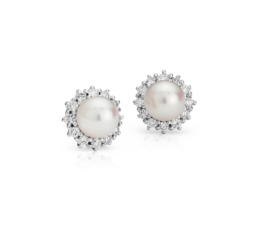 Freshwater Cultured Pearl and Diamond Halo Earrings in 18k White Gold (3/4 ct. tw.)