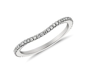 Monique Lhuillier Curved Pave Diamond Ring in Platinum (1/5 ct. tw.)