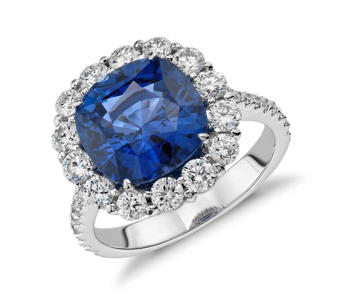 Cushion Sapphire and Diamond Classic Halo Ring in 18k White  Gold (5.71 cts)