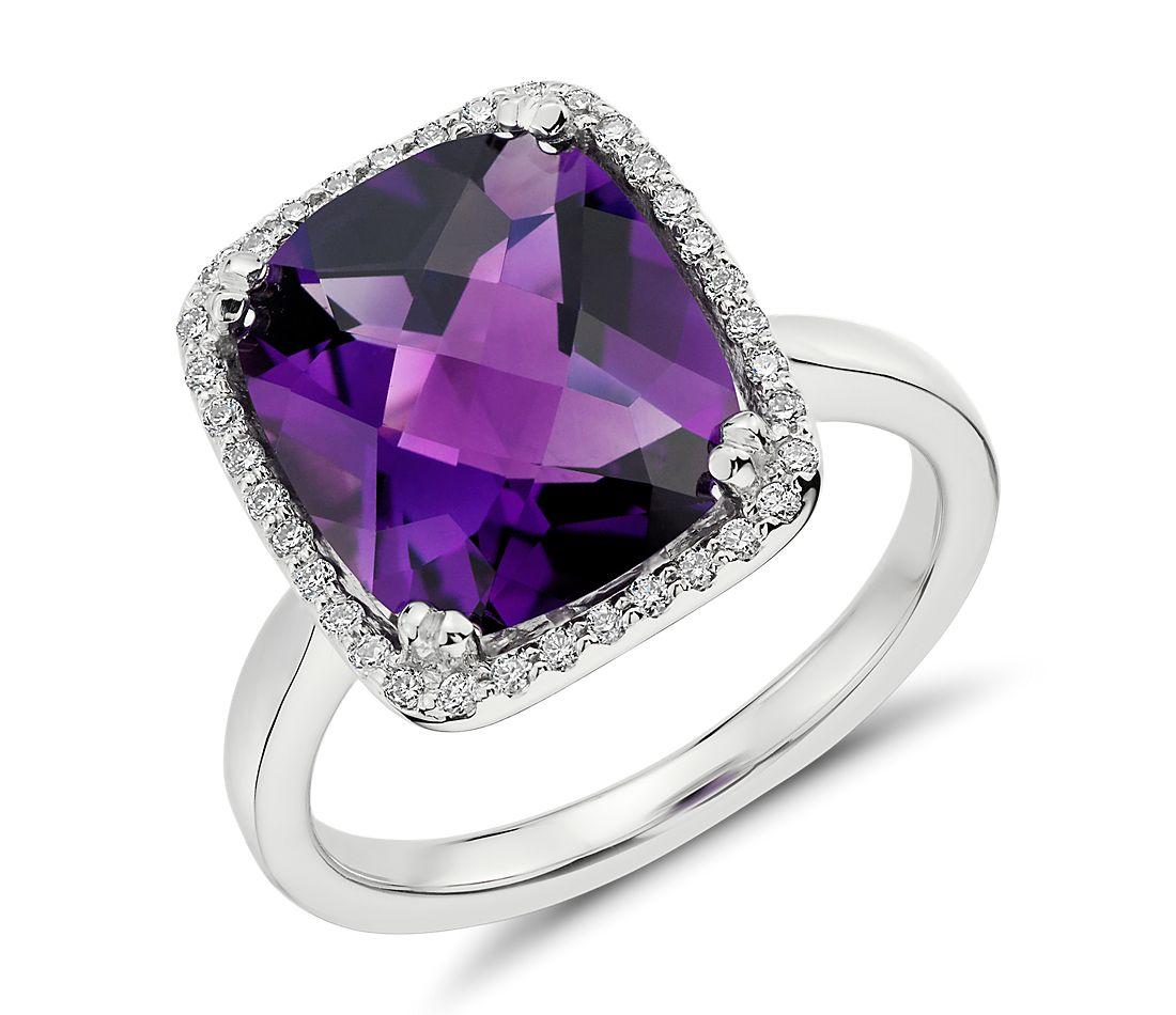 Bague améthyste et diamant halo taille coussin en or blanc 14carats