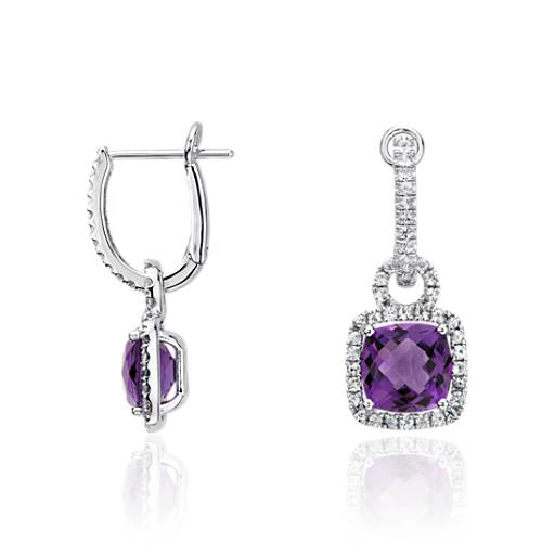 Amethyst and White Sapphire Halo Cushion Drop Earrings in Sterling Silver