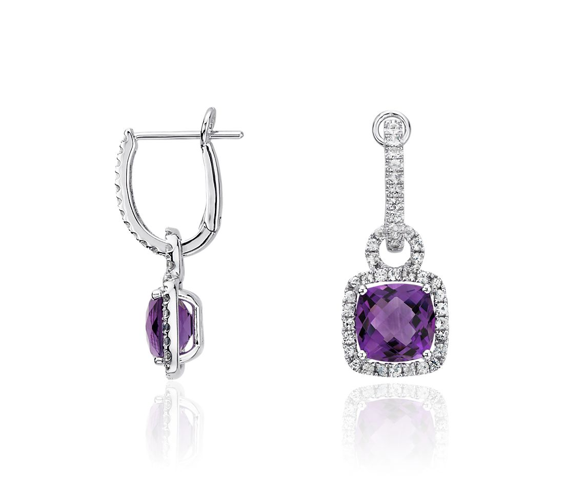 Amethyst and White Sapphire Halo Cushion Drop Earrings in Sterling Silver (8x8mm)