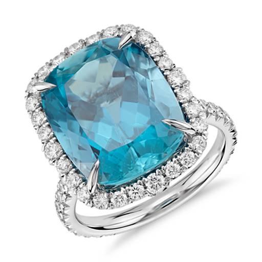 Aquamarine and Diamond Ring in 18k White Gold (9.26 ct center)