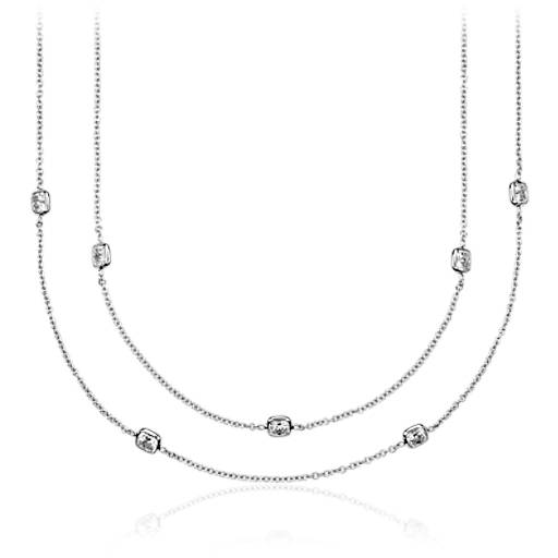 Fancies by the Yard Cushion-Cut Bezel Diamond Necklace in 18k White Gold (60