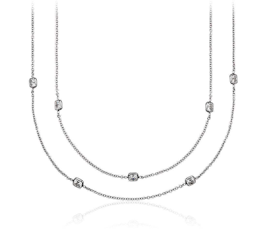 "Fancies by the Yard Cushion-Cut Bezel Diamond Necklace in 18k White Gold (60"" Long)"