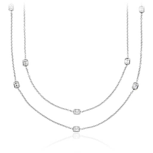Fancies by the Yard Asscher-Cut Bezel Diamond Necklace in 18k White Gold (62