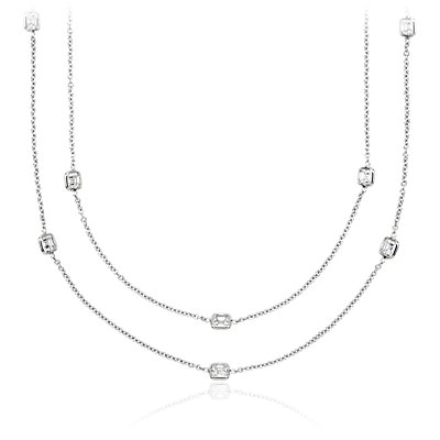 Collar de diamantes en bisel de talla Asscher Fancies by the Yard en oro blanco de 18 k (7 qt. total)