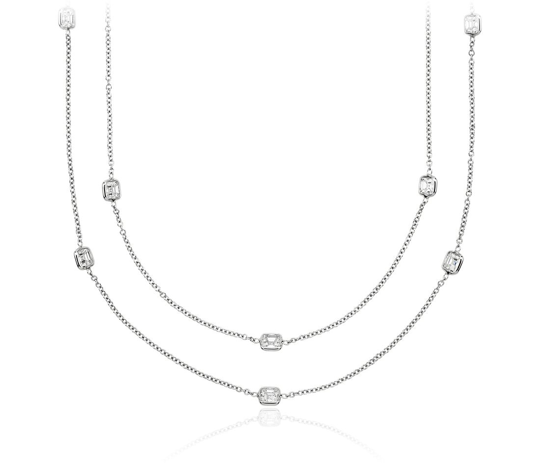 "Fancies by the Yard Asscher-Cut Bezel Diamond Necklace in 18k White Gold (62"" Long)"