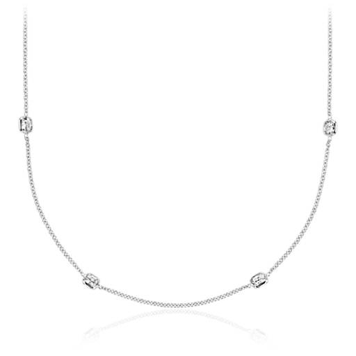 Fancies by the Yard Cushion-Cut Bezel Diamond Necklace in 18k White Gold (20