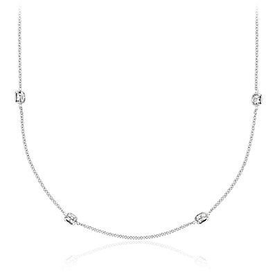 Fancies by the Yard Cushion-Cut Bezel Diamond Necklace in 18k White Gold (2 ct. tw.)