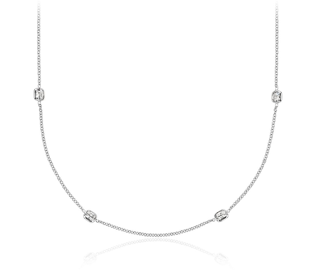 "Fancies by the Yard Cushion-Cut Bezel Diamond Necklace in 18k White Gold (20"" Long)"