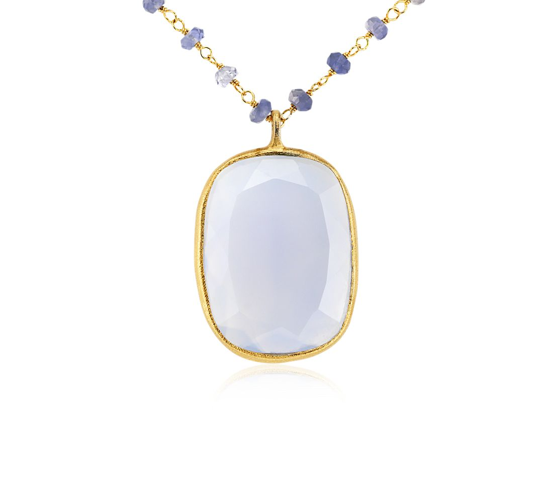 Chalcedony and Iolite Necklace in Gold Vermeil