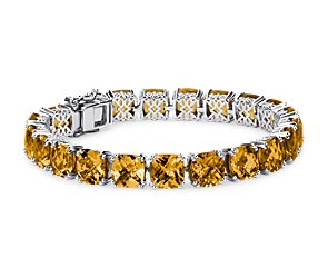 Citrine Cushion Bracelet in Sterling Silver (8mm)
