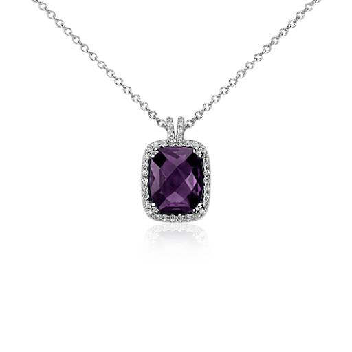Amethyst and Diamond Halo  Cushion-Cut Pendant in 14k White Gold