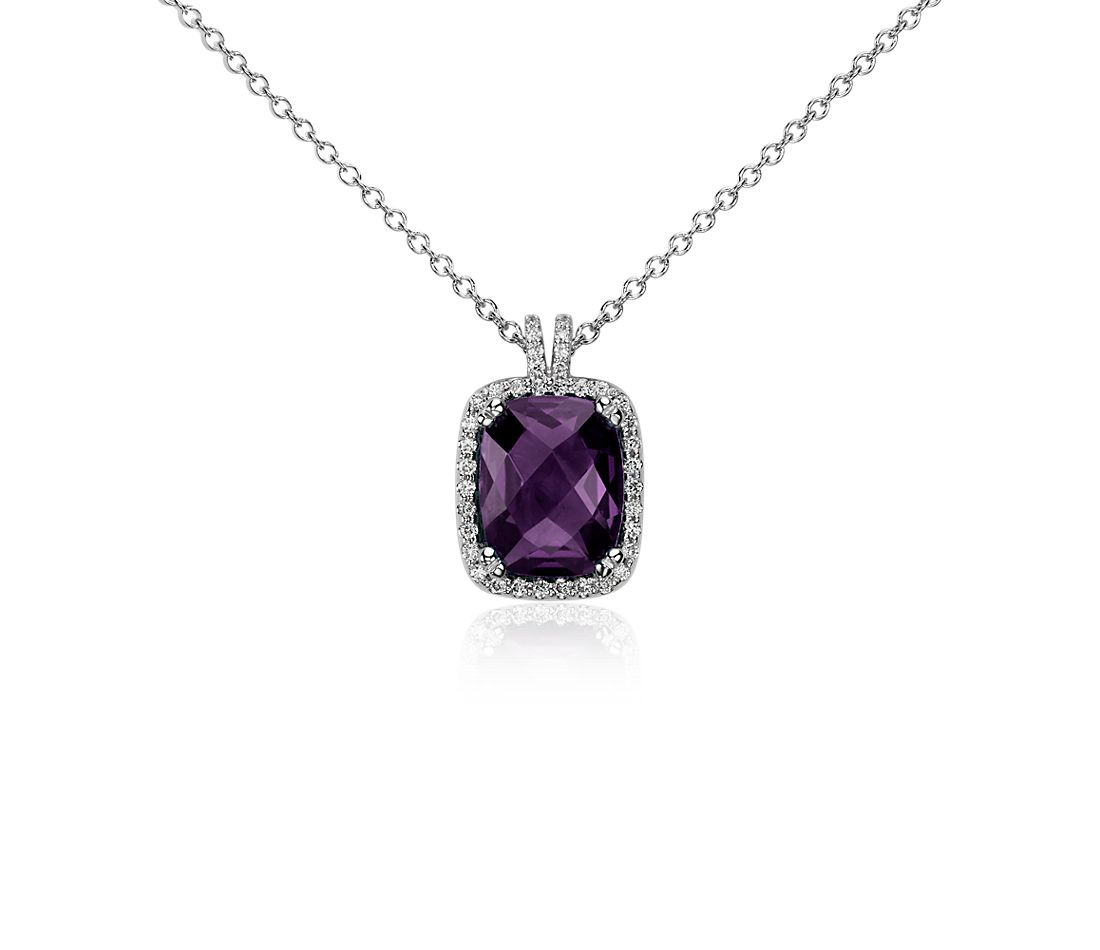Cushion Cut Amethyst and Diamond Pendant in 14k White Gold