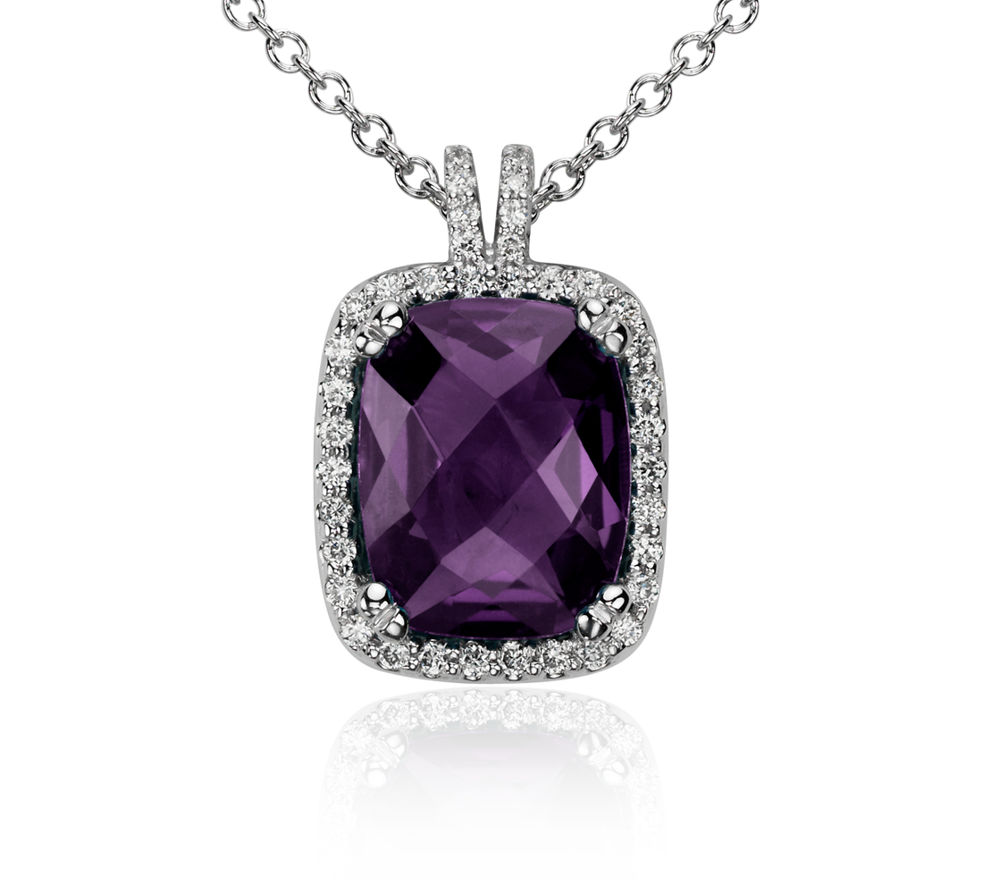 Robert Leser Amethyst and Diamond Halo Cushion-Cut Pendant in 14k White Gold