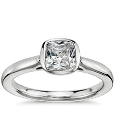 Cushion Cut Bezel Set Solitaire Engagement Ring in Platinum
