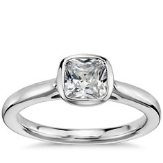Cushion Cut Bezel Set Solitaire Engagement Ring in 14k White Gold