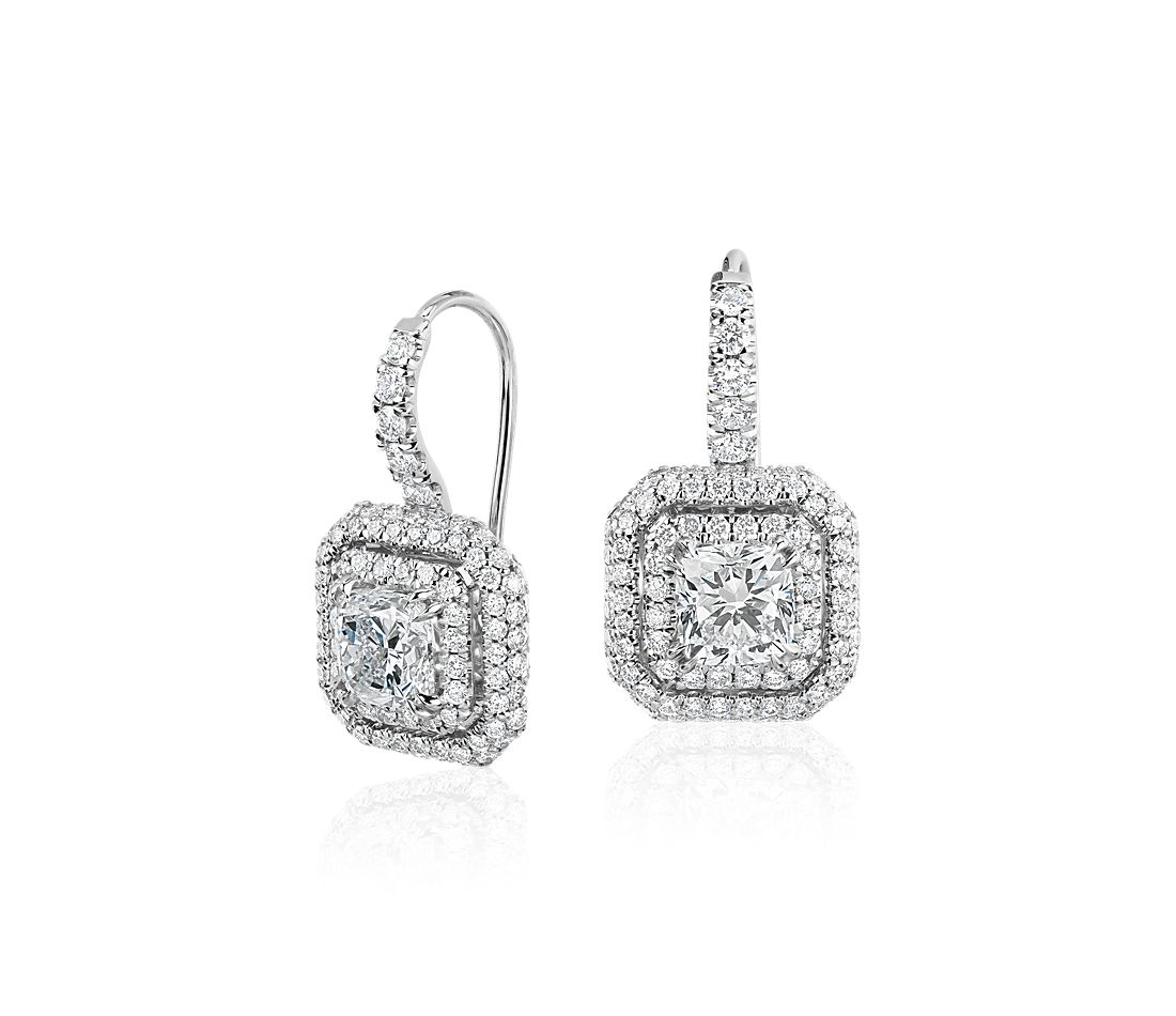 Cushion Cut Diamond Double Halo Drop Earrings In 18k White Gold Blue Nile