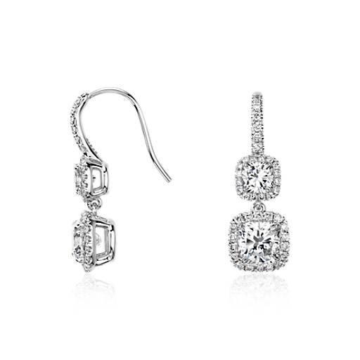 Cushion-Cut Diamond Halo Double Drop Earrings in 18k White Gold