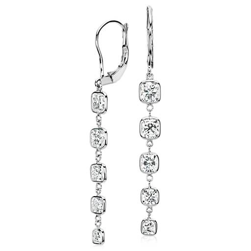 Cushion-Cut Bezel-Set Diamond Drop Earrings in 18k White Gold (3.46 ct. tw.)