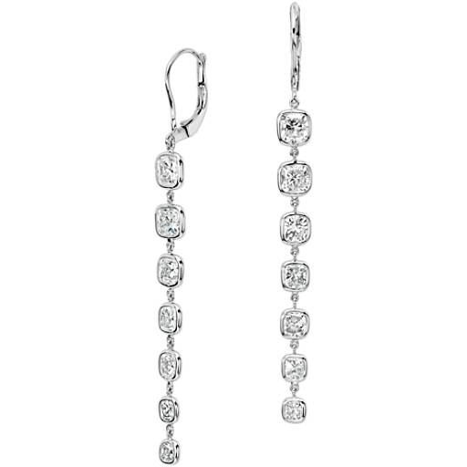 Cushion-Cut Bezel-Set Diamond Drop Earrings in 18k White Gold (6 ct. tw.)