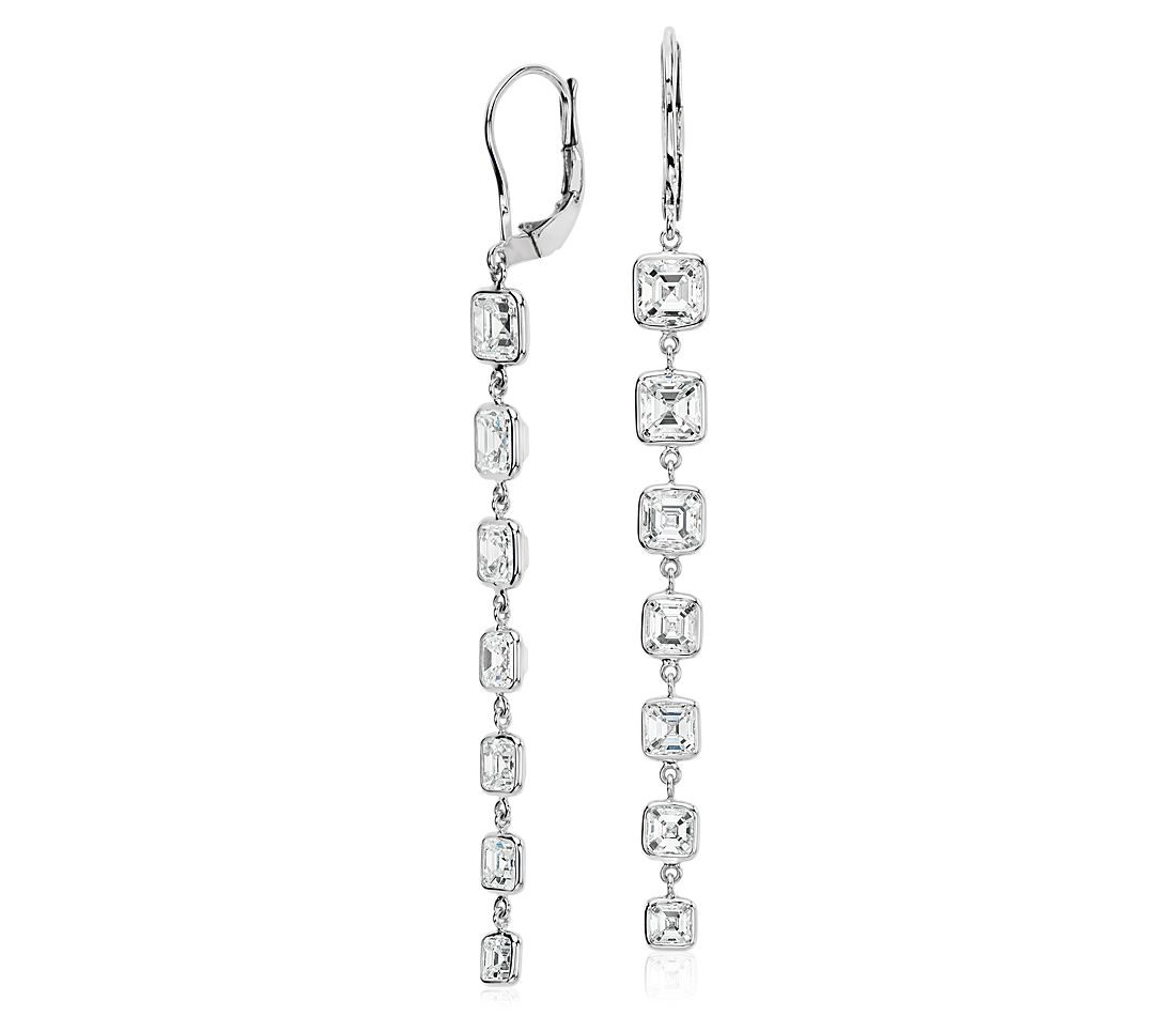 Asscher-Cut Bezel-Set Diamond Drop Earrings in 18k White Gold