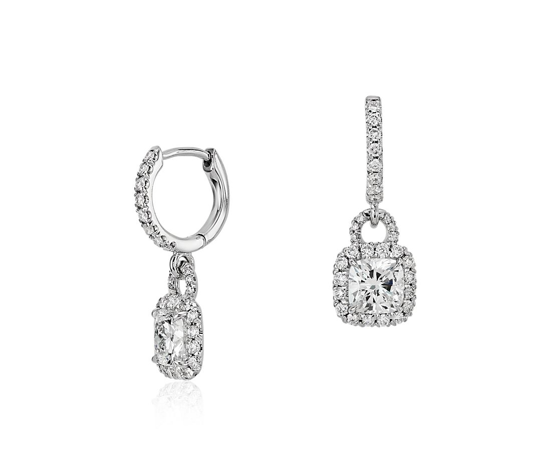 CushionCut Diamond Halo Dangle Earrings in 18k White Gold 1.50 ct