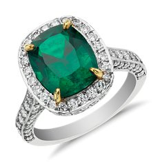Cushion-Cut Emerald and Micropavé Diamond Halo Ring in 18k Yellow Gold and Platinum (3.10 ct)