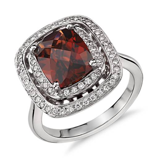 Garnet and Diamond Double Row Halo Cushion-Cut Ring in 14k White Gold