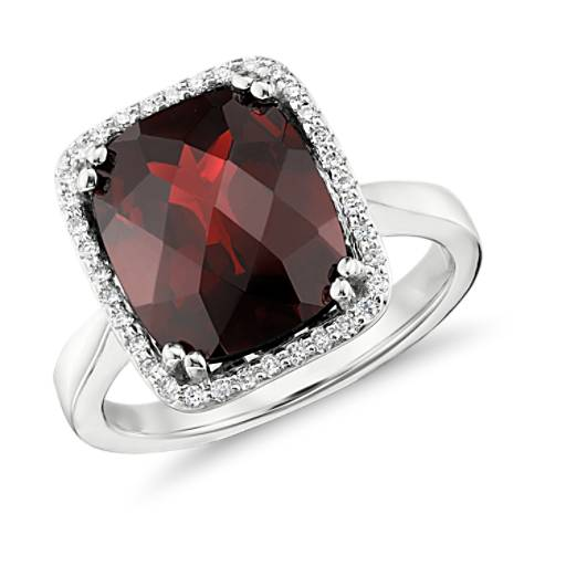 Garnet and Diamond Halo Cushion-Cut Ring in 14k White Gold