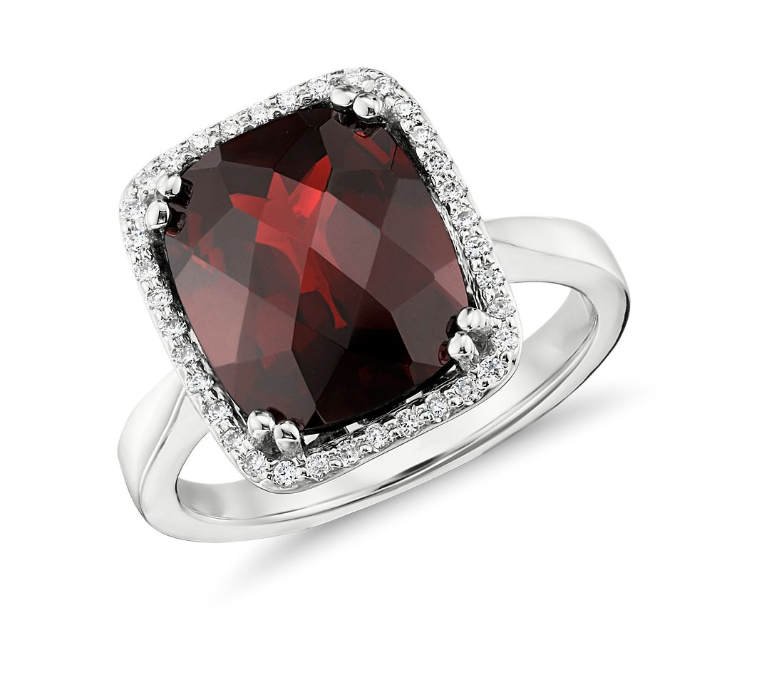 Robert Leser Garnet and Diamond Halo Cushion-Cut Ring in 14k White Gold (12x10mm)