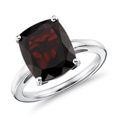 Garnet Cushion Cut Ring in Sterling Silver