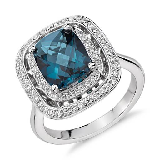 London Blue Topaz and Diamond Double Row Halo Cushion-Cut Ring in 14k White Gold