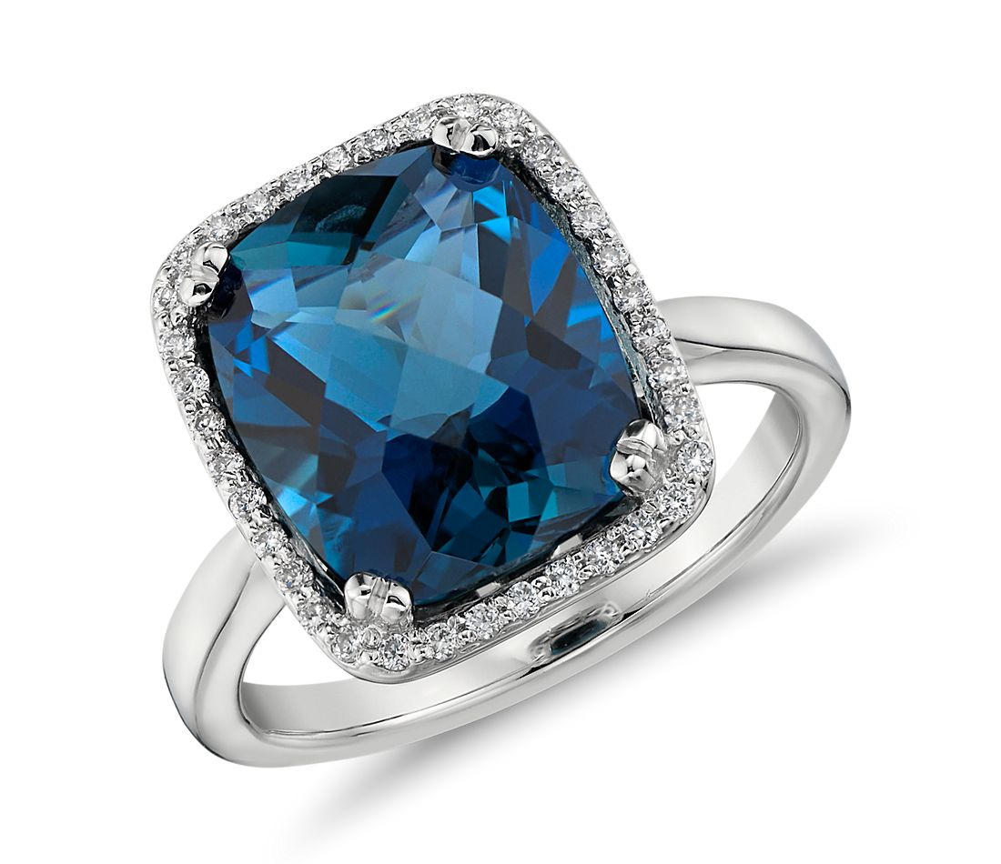 London Blue Topaz and Diamond Halo Cushion-Cut Ring in 14k White Gold