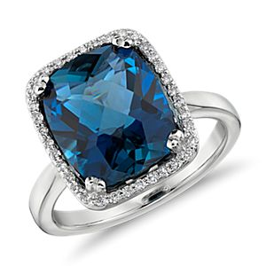 London Blue Topaz and Diamond Halo Cushion-Cut Ring in 14k White Gold (12x10mm)