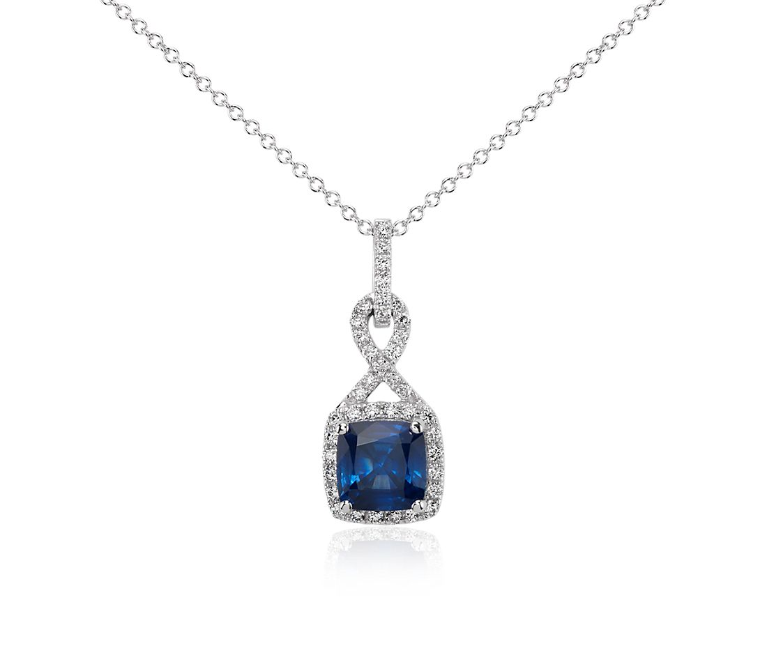 Cushion-Cut Sapphire and Diamond Halo Twist Pendant in 18k White Gold (7 mm)