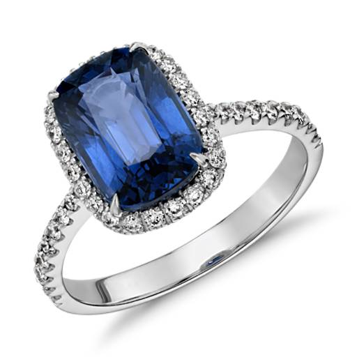 Cushion-Cut Sapphire and Diamond Halo Ring in 18k White Gold (10x7mm)