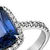 Cushion-Cut Sapphire and Diamond Halo Ring in 18k White Gold