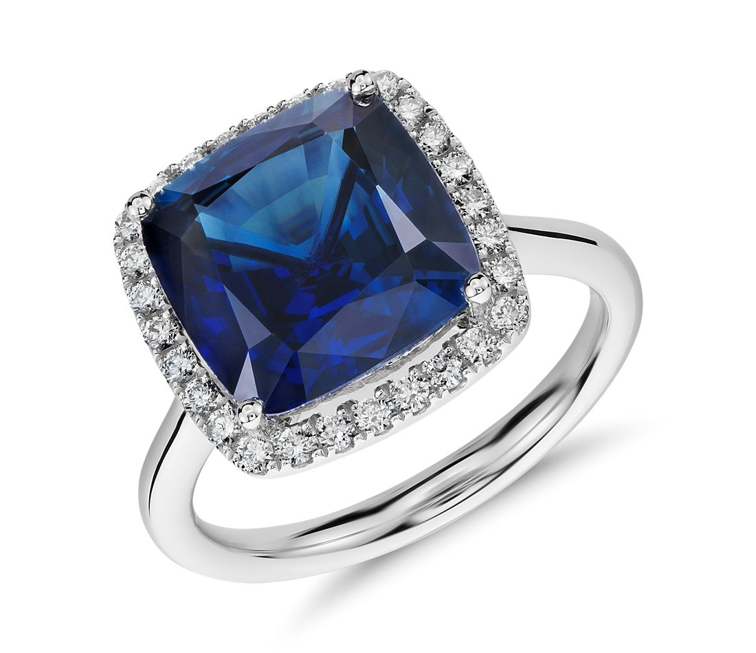 Cushion-Cut Sapphire and Diamond Halo Ring in 18k White Gold (6.08 ct center)