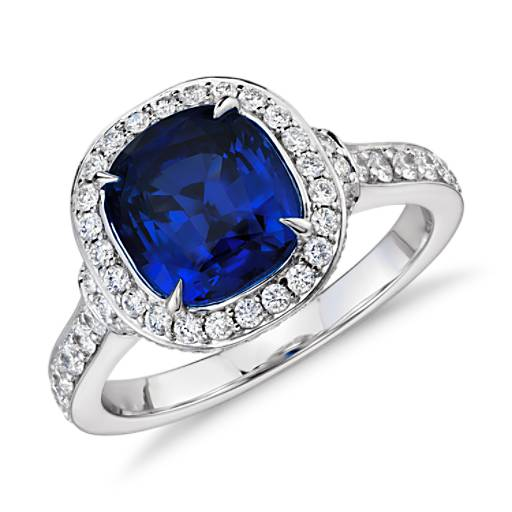 Cushion-Cut Sapphire and Diamond Halo Ring in 18k White Gold (2.58 ct center) (8.2x7.4mm)