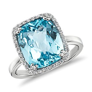 Sky Blue Topaz and Diamond Halo Cushion-Cut Ring in 14k White Gold (12x10mm)