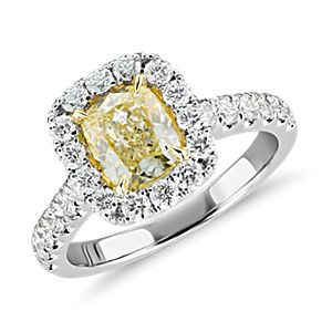 NEW Cushion-Cut Yellow Bague halo de diamant in Or blanc 18 carats (1.56 ct.)
