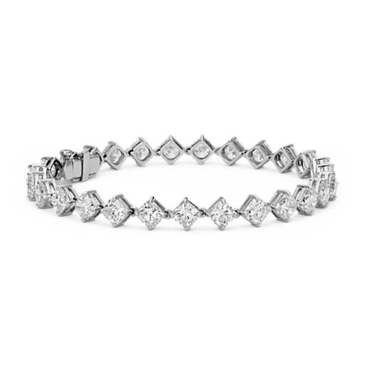 Cushion-Cut Kite Set Diamond Eternity Bracelet in Platinum (14.24 ct. tw.)