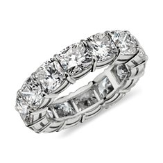 Cushion Eternity Diamond Ring in Platinum (over 9.50 ct. tw.)