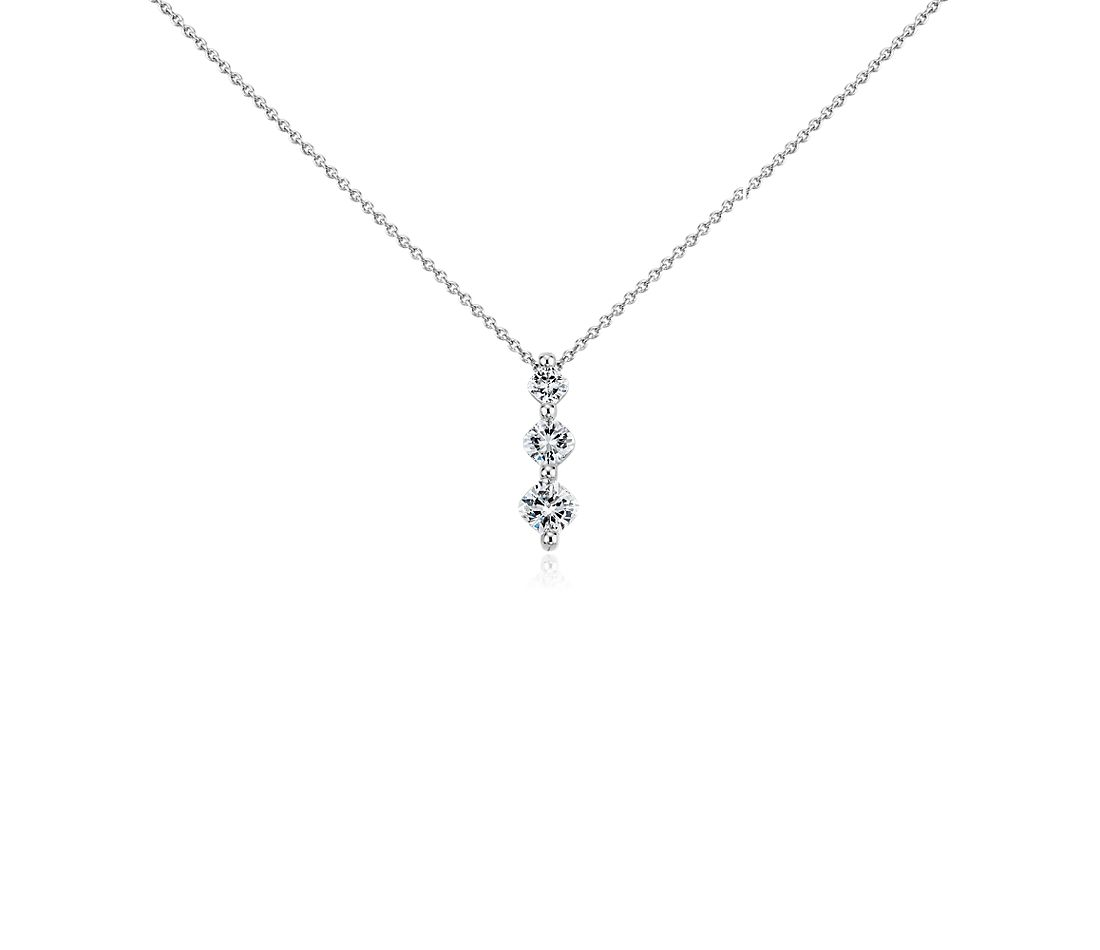 Cushion-Cut Three-Stone Diamond Pendant in Platinum (5/8 ct. tw)