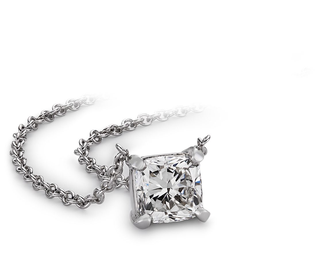 Cushion Diamond Solitaire Pendant in 14k White Gold (3/4 ct. tw.)