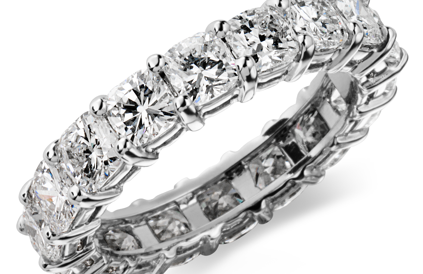 Cushion-Cut Diamond Eternity Rings in Platinum